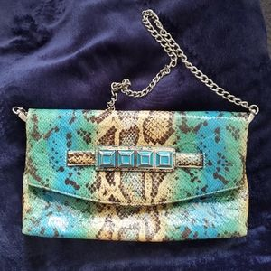 Nine West Turquoise Snake print Clutch NWOT